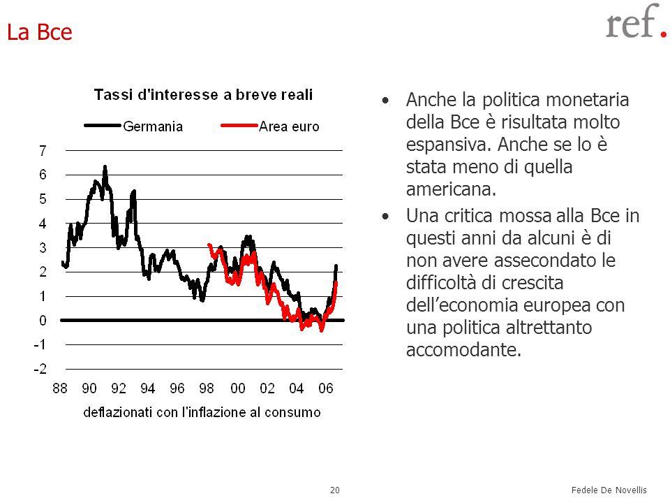 Fedele De Novellis 20 La Bce Anche la politica monetaria della Bce è risultata molto espansiva. Anche se lo è stata meno di quella americana. Una crit