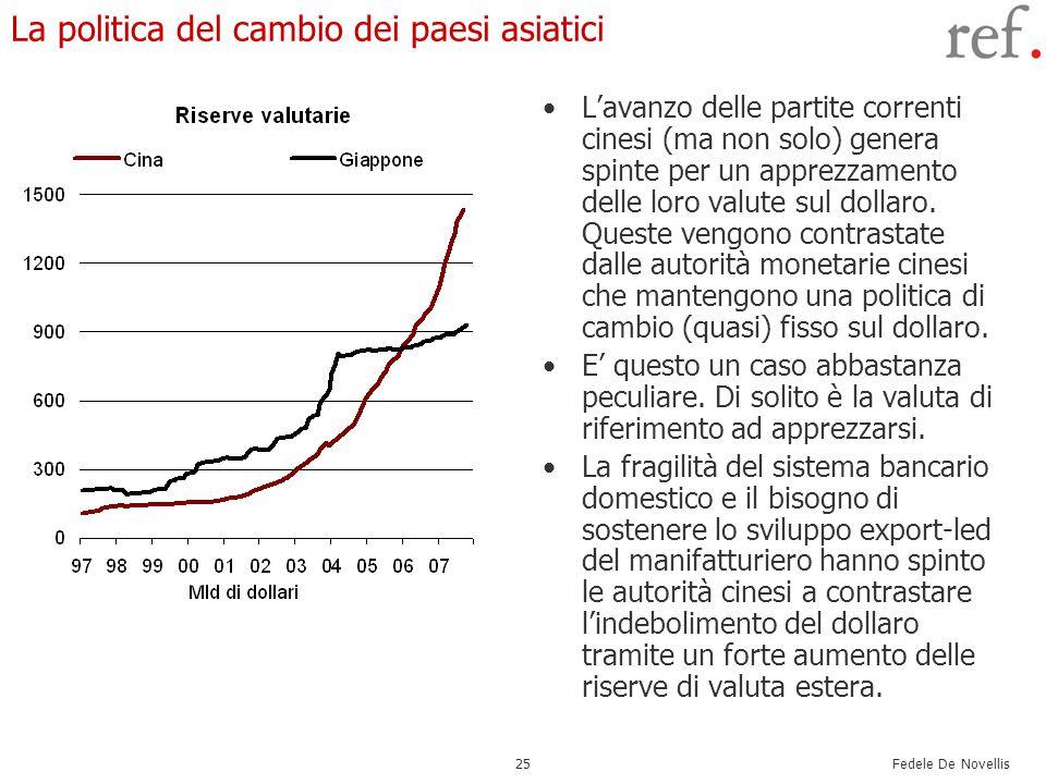 Fedele De Novellis 25 La politica del cambio dei paesi asiatici L'avanzo delle partite correnti cinesi (ma non solo) genera spinte per un apprezzament