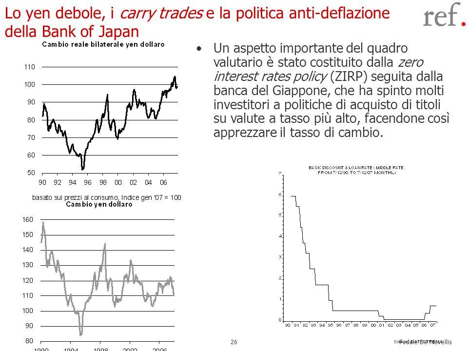 Fedele De Novellis 26 Lo yen debole, i carry trades e la politica anti-deflazione della Bank of Japan Un aspetto importante del quadro valutario è sta