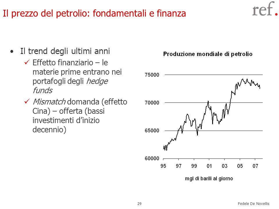 Fedele De Novellis 29 Il prezzo del petrolio: fondamentali e finanza Il trend degli ultimi anni Effetto finanziario – le materie prime entrano nei portafogli degli hedge funds Mismatch domanda (effetto Cina) – offerta (bassi investimenti d'inizio decennio)