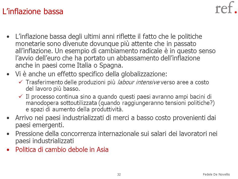 Fedele De Novellis 32 L'inflazione bassa L'inflazione bassa degli ultimi anni riflette il fatto che le politiche monetarie sono divenute dovunque più