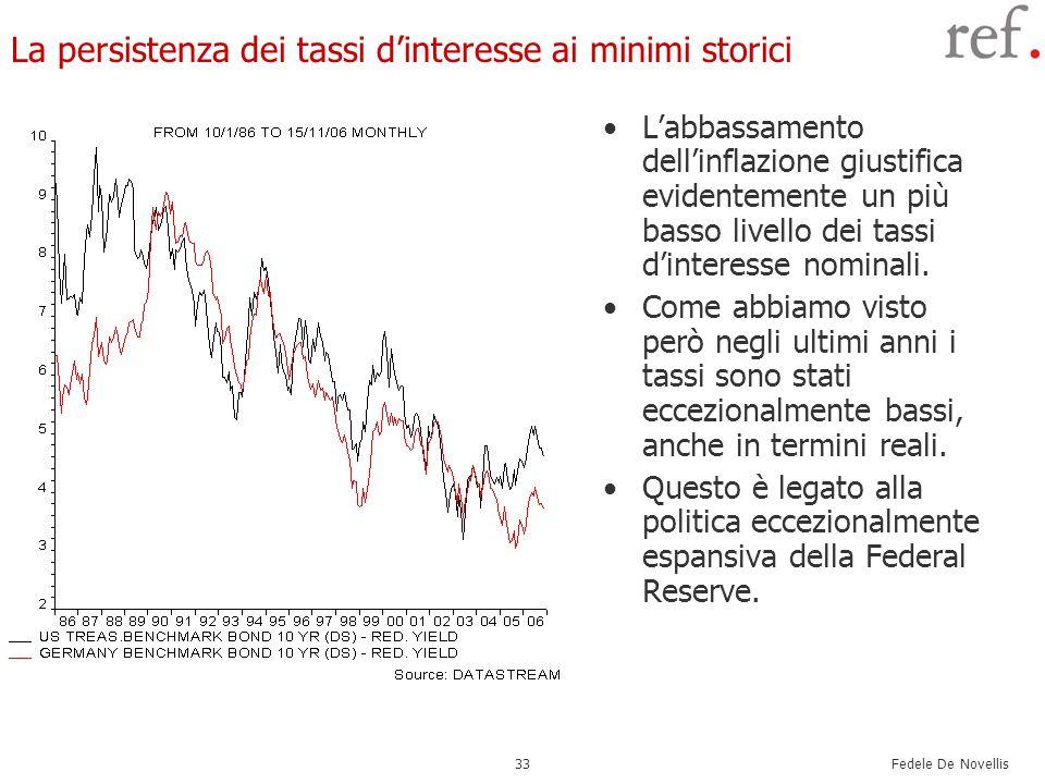 Fedele De Novellis 33 La persistenza dei tassi d'interesse ai minimi storici L'abbassamento dell'inflazione giustifica evidentemente un più basso livello dei tassi d'interesse nominali.