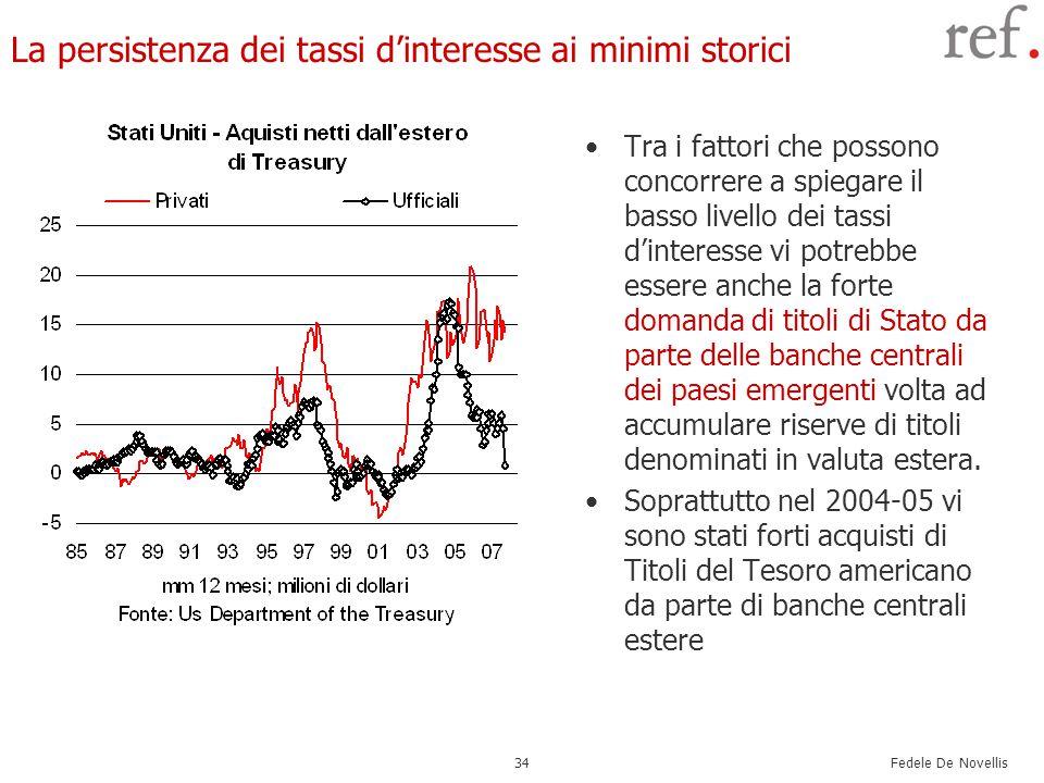 Fedele De Novellis 34 La persistenza dei tassi d'interesse ai minimi storici Tra i fattori che possono concorrere a spiegare il basso livello dei tassi d'interesse vi potrebbe essere anche la forte domanda di titoli di Stato da parte delle banche centrali dei paesi emergenti volta ad accumulare riserve di titoli denominati in valuta estera.