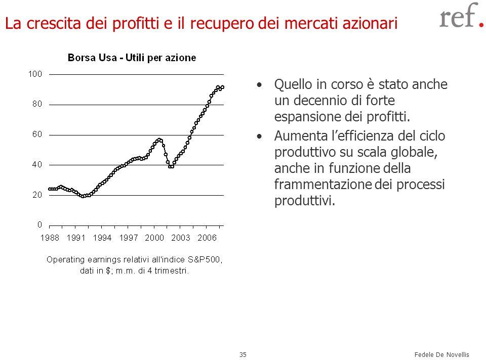 Fedele De Novellis 35 La crescita dei profitti e il recupero dei mercati azionari Quello in corso è stato anche un decennio di forte espansione dei profitti.