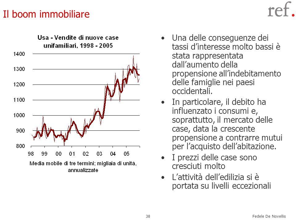 Fedele De Novellis 38 Il boom immobiliare Una delle conseguenze dei tassi d'interesse molto bassi è stata rappresentata dall'aumento della propensione all'indebitamento delle famiglie nei paesi occidentali.