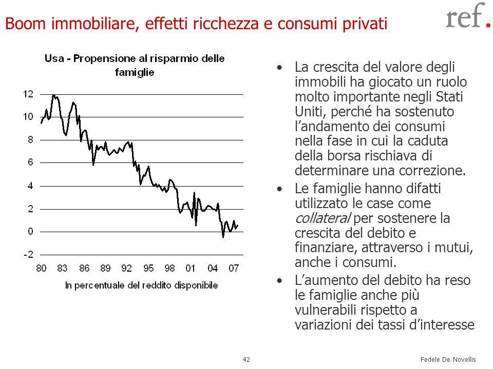 Fedele De Novellis 42 Boom immobiliare, effetti ricchezza e consumi privati La crescita del valore degli immobili ha giocato un ruolo molto importante negli Stati Uniti, perché ha sostenuto l'andamento dei consumi nella fase in cui la caduta della borsa rischiava di determinare una correzione.