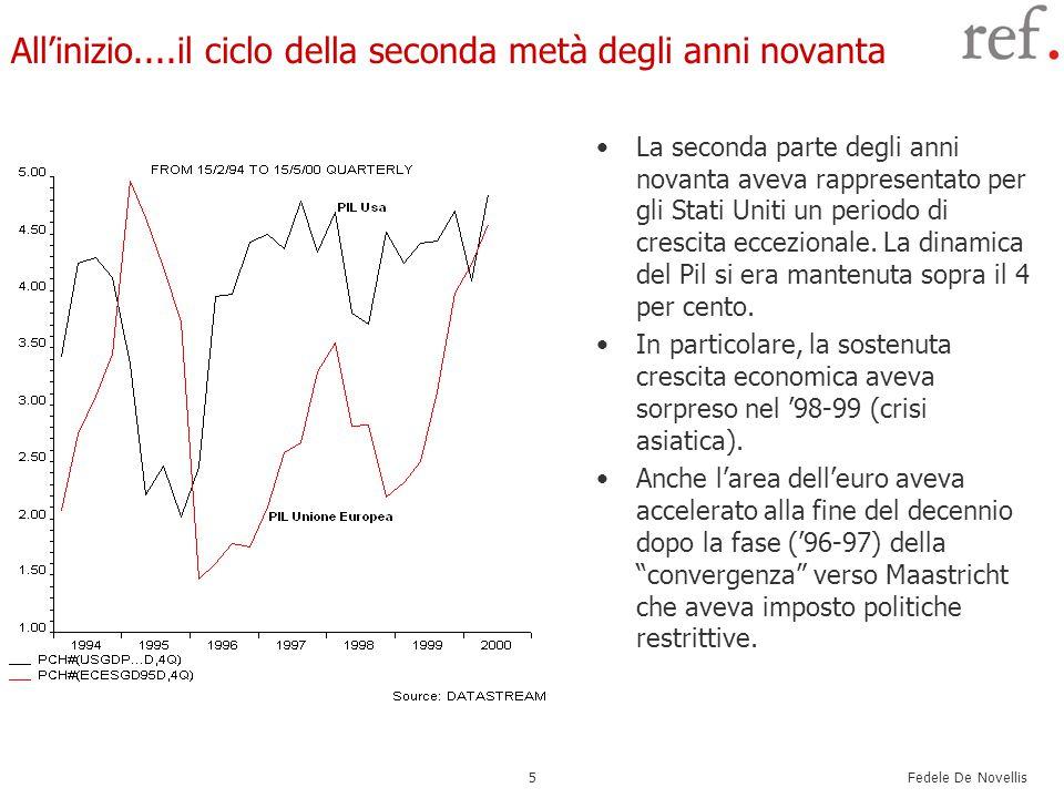 Fedele De Novellis 5 All'inizio....il ciclo della seconda metà degli anni novanta La seconda parte degli anni novanta aveva rappresentato per gli Stati Uniti un periodo di crescita eccezionale.