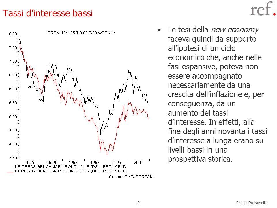 Fedele De Novellis 9 Tassi d'interesse bassi Le tesi della new economy faceva quindi da supporto all'ipotesi di un ciclo economico che, anche nelle fasi espansive, poteva non essere accompagnato necessariamente da una crescita dell'inflazione e, per conseguenza, da un aumento dei tassi d'interesse.