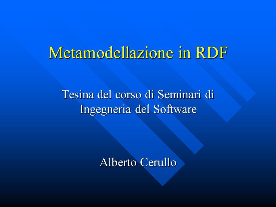 Metamodellazione in RDF Tesina del corso di Seminari di Ingegneria del Software Alberto Cerullo