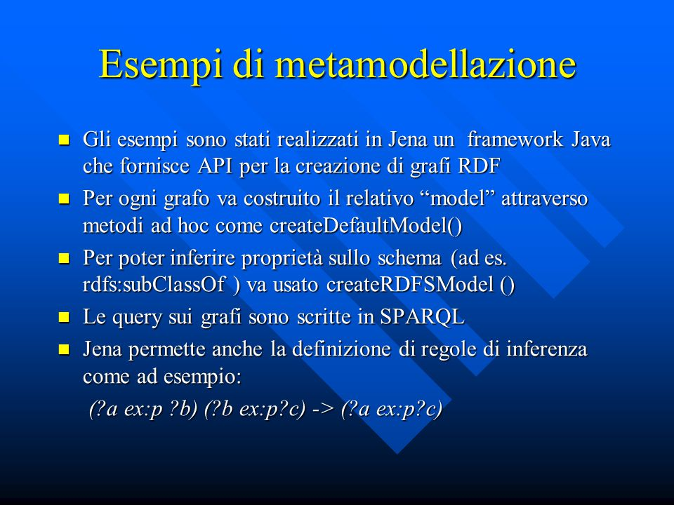 Esempi di metamodellazione Gli esempi sono stati realizzati in Jena un framework Java che fornisce API per la creazione di grafi RDF Gli esempi sono s