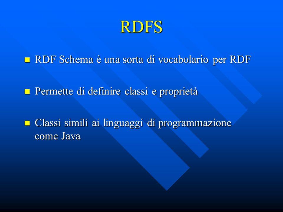 RDFS RDF Schema è una sorta di vocabolario per RDF RDF Schema è una sorta di vocabolario per RDF Permette di definire classi e proprietà Permette di definire classi e proprietà Classi simili ai linguaggi di programmazione come Java Classi simili ai linguaggi di programmazione come Java
