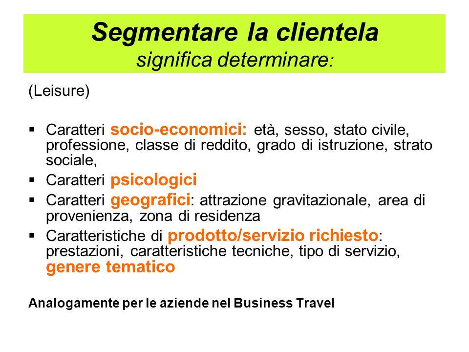 Criteri di segmentazione tra quelli maggiormente usati:  Chi sono i clienti attuali  Quanti sono, come sono, da dove vengono, quanto spendono, fedeltà di acquisto, cosa vogliono  Quali invece vorremmo, cosa vorremmo comprassero, ecc.