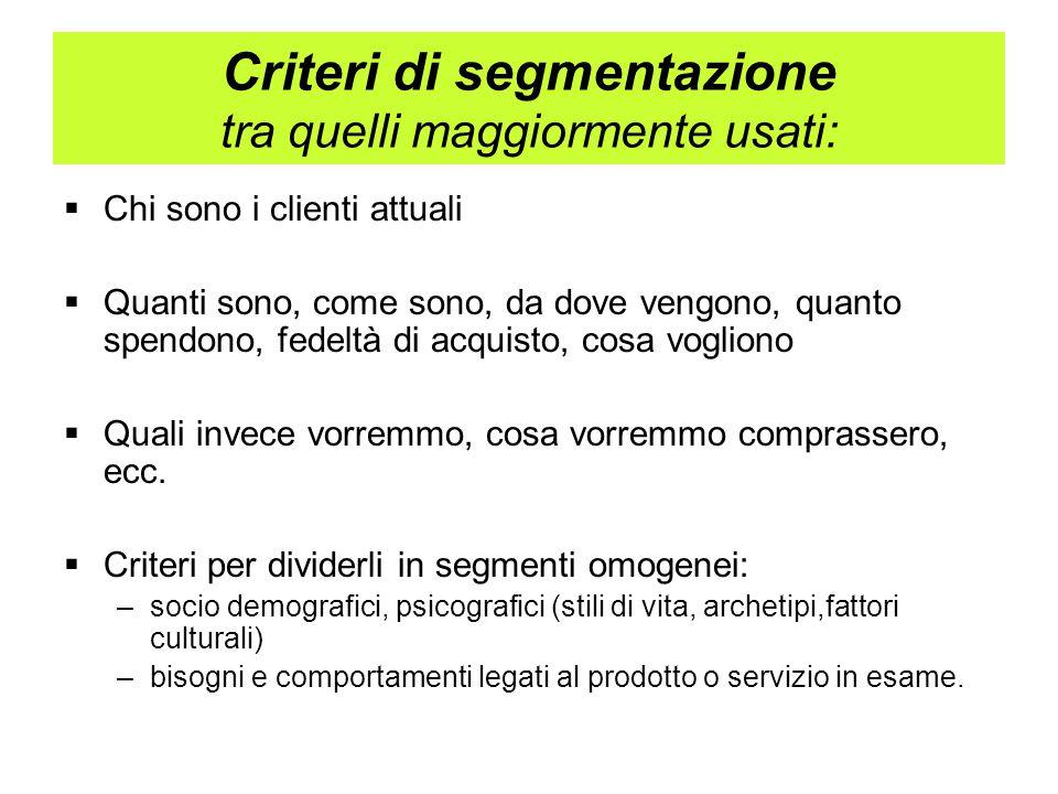 Segmentare il mercato imparare a segmentare Su cosa ragionare e dove cercare i criteri: Possiamo scegliere liberamente i criteri di segmentazione.