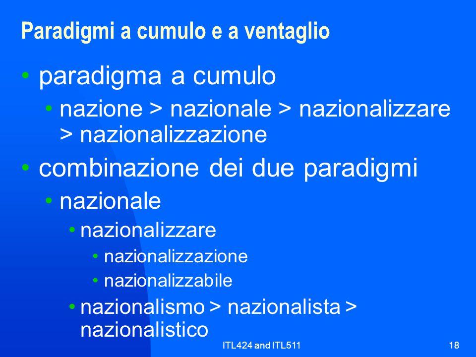 ITL424 and ITL51118 Paradigmi a cumulo e a ventaglio paradigma a cumulo nazione > nazionale > nazionalizzare > nazionalizzazione combinazione dei due