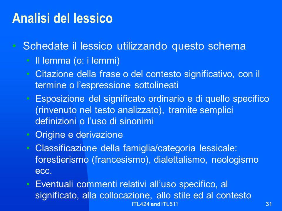 ITL424 and ITL51131 Analisi del lessico Schedate il lessico utilizzando questo schema Il lemma (o: i lemmi) Citazione della frase o del contesto signi