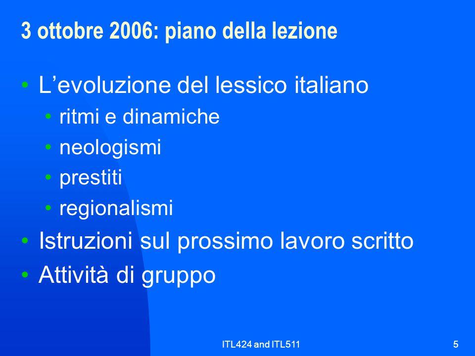 ITL424 and ITL5115 3 ottobre 2006: piano della lezione L'evoluzione del lessico italiano ritmi e dinamiche neologismi prestiti regionalismi Istruzioni