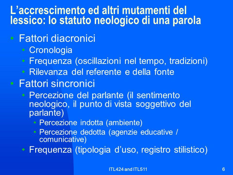 ITL424 and ITL5116 L'accrescimento ed altri mutamenti del lessico: lo statuto neologico di una parola Fattori diacronici Cronologia Frequenza (oscilla