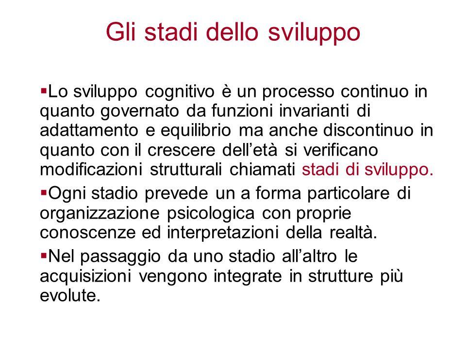 Gli stadi dello sviluppo  Lo sviluppo cognitivo è un processo continuo in quanto governato da funzioni invarianti di adattamento e equilibrio ma anch