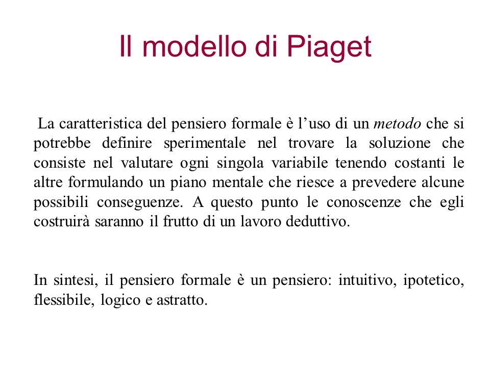 Il modello di Piaget La caratteristica del pensiero formale è l'uso di un metodo che si potrebbe definire sperimentale nel trovare la soluzione che co