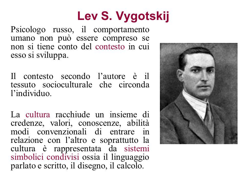 Lev S. Vygotskij Psicologo russo, il comportamento umano non può essere compreso se non si tiene conto del contesto in cui esso si sviluppa. Il contes