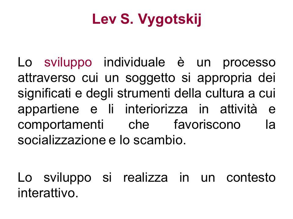 Lev S. Vygotskij Lo sviluppo individuale è un processo attraverso cui un soggetto si appropria dei significati e degli strumenti della cultura a cui a