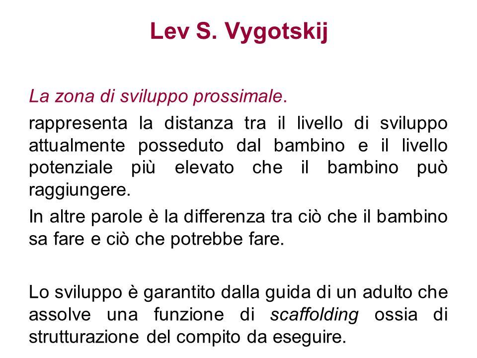 Lev S. Vygotskij La zona di sviluppo prossimale. rappresenta la distanza tra il livello di sviluppo attualmente posseduto dal bambino e il livello pot