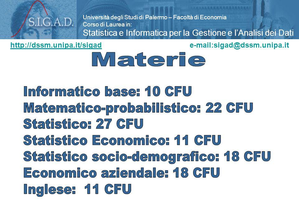 Università degli Studi di Palermo – Facoltà di Economia Corso di Laurea in: Statistica e Informatica per la Gestione e l'Analisi dei Dati http://dssm.