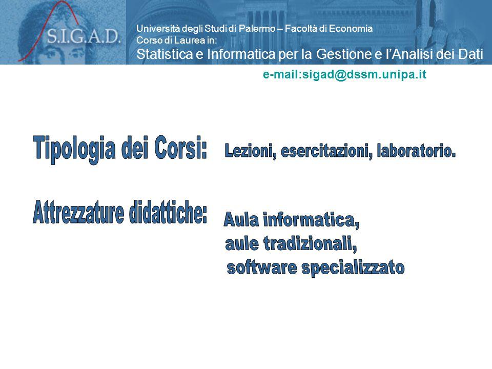 Università degli Studi di Palermo – Facoltà di Economia Corso di Laurea in: Statistica e Informatica per la Gestione e l'Analisi dei Dati www.unipa.it/economia/e-mail:sigad@dssm.unipa.it