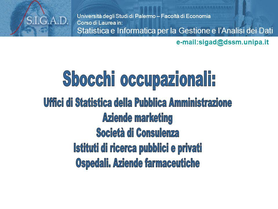 Università degli Studi di Palermo – Facoltà di Economia Corso di Laurea in: Statistica e Informatica per la Gestione e l'Analisi dei Dati e-mail:sigad@dssm.unipa.it