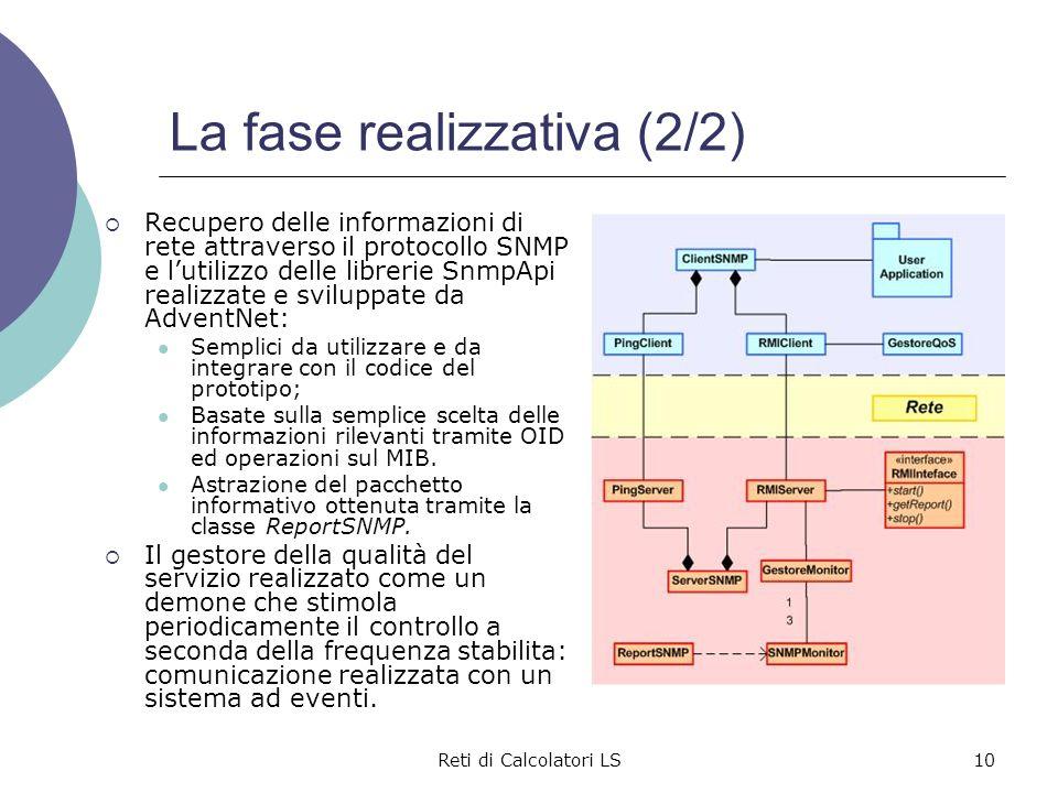 Reti di Calcolatori LS10 La fase realizzativa (2/2)  Recupero delle informazioni di rete attraverso il protocollo SNMP e l'utilizzo delle librerie Sn