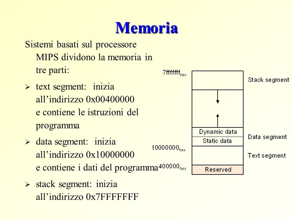 Memoria Sistemi basati sul processore MIPS dividono la memoria in tre parti:  text segment: inizia all'indirizzo 0x00400000 e contiene le istruzioni del programma  data segment: inizia all'indirizzo 0x10000000 e contiene i dati del programma  stack segment: inizia all'indirizzo 0x7FFFFFFF