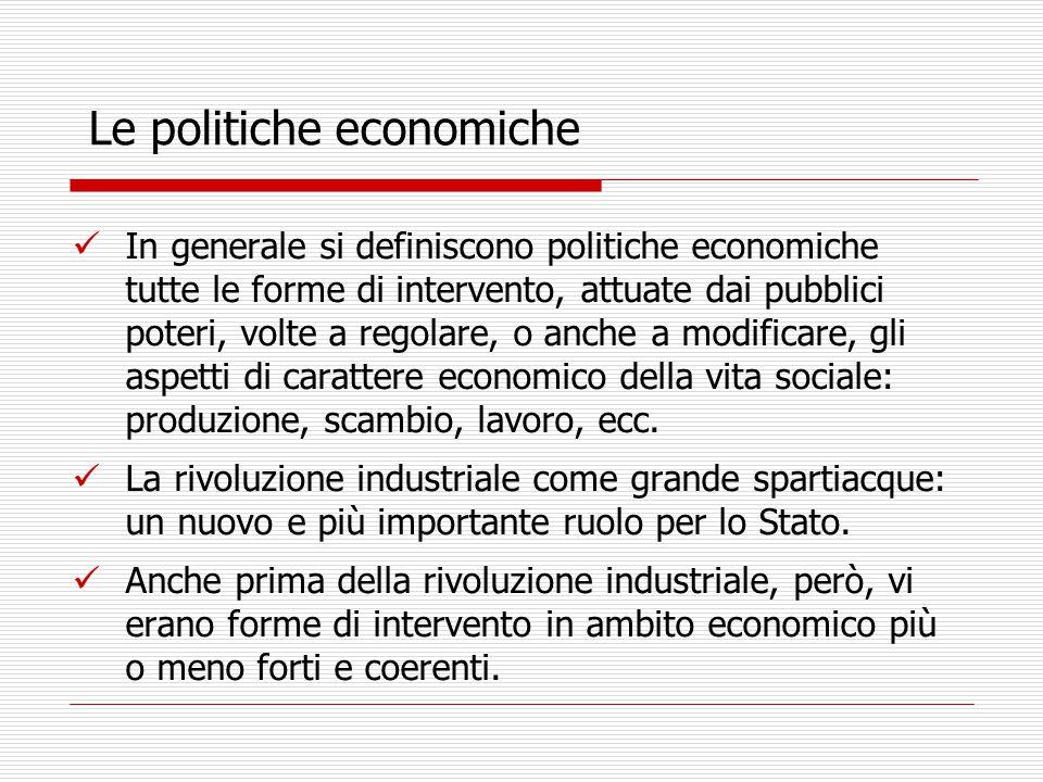 In generale si definiscono politiche economiche tutte le forme di intervento, attuate dai pubblici poteri, volte a regolare, o anche a modificare, gli aspetti di carattere economico della vita sociale: produzione, scambio, lavoro, ecc.
