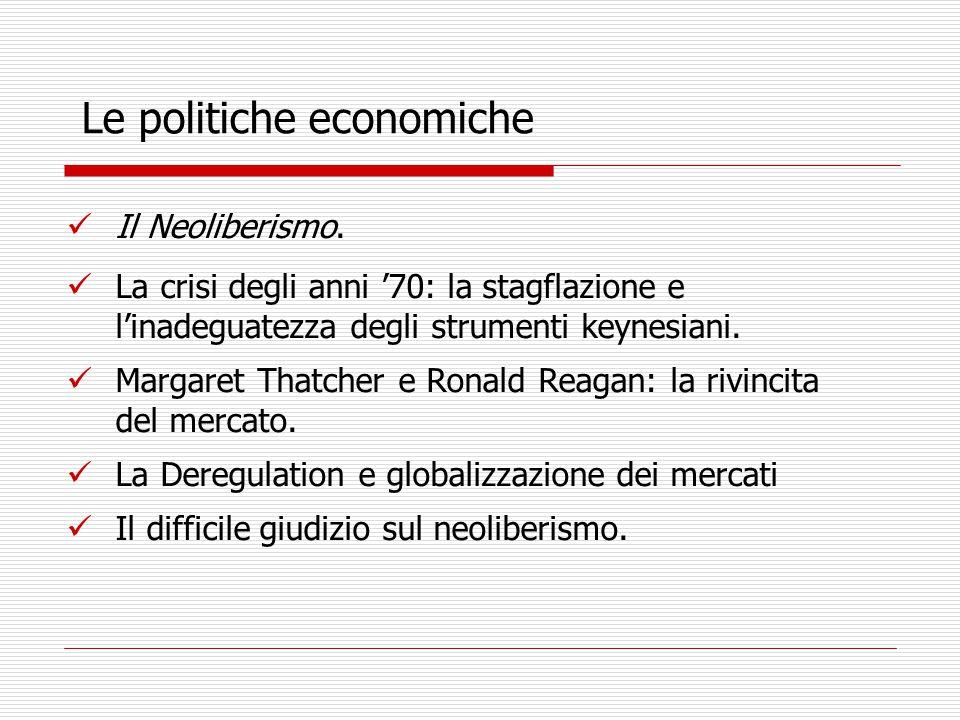 Le politiche economiche Il Neoliberismo.