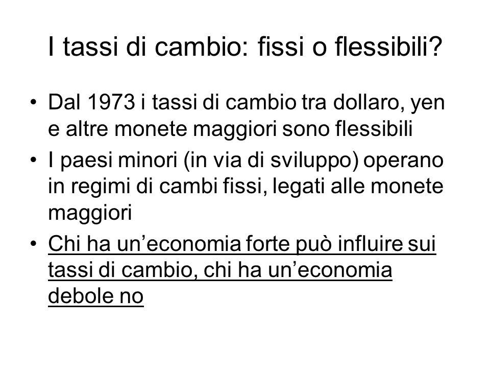 I tassi di cambio: fissi o flessibili.
