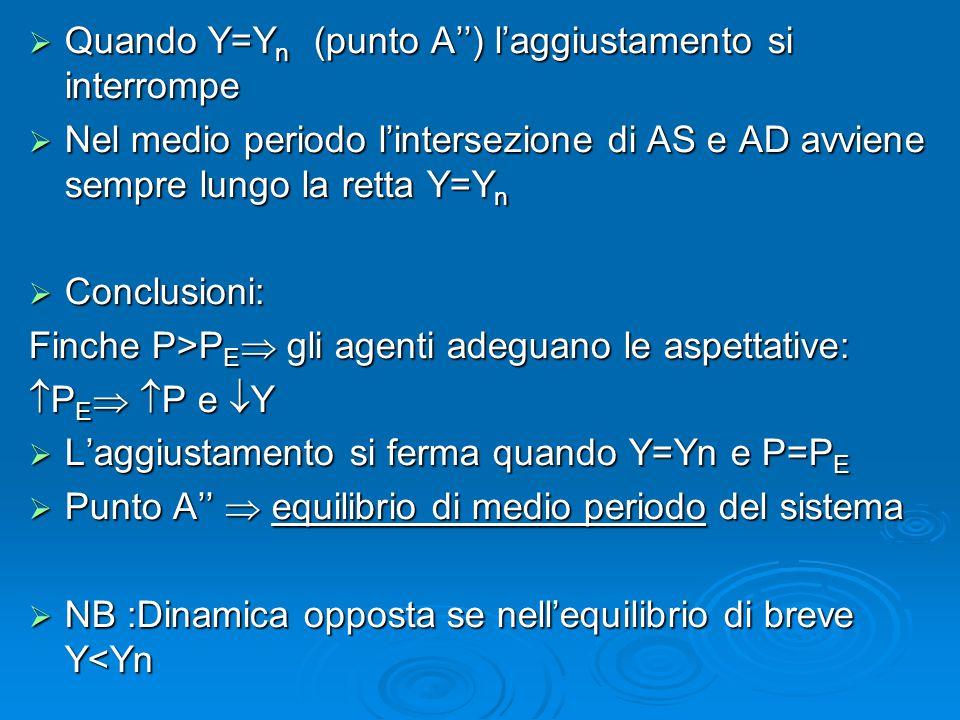  Quando Y=Y n (punto A'') l'aggiustamento si interrompe  Nel medio periodo l'intersezione di AS e AD avviene sempre lungo la retta Y=Y n  Conclusio
