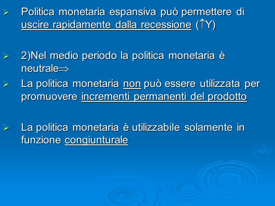  Politica monetaria espansiva può permettere di uscire rapidamente dalla recessione (  Y)  2)Nel medio periodo la politica monetaria è neutrale  