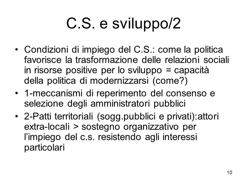 10 C.S. e sviluppo/2 Condizioni di impiego del C.S.: come la politica favorisce la trasformazione delle relazioni sociali in risorse positive per lo s