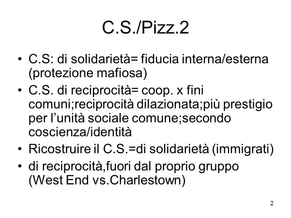 2 C.S./Pizz.2 C.S: di solidarietà= fiducia interna/esterna (protezione mafiosa) C.S. di reciprocità= coop. x fini comuni;reciprocità dilazionata;più p