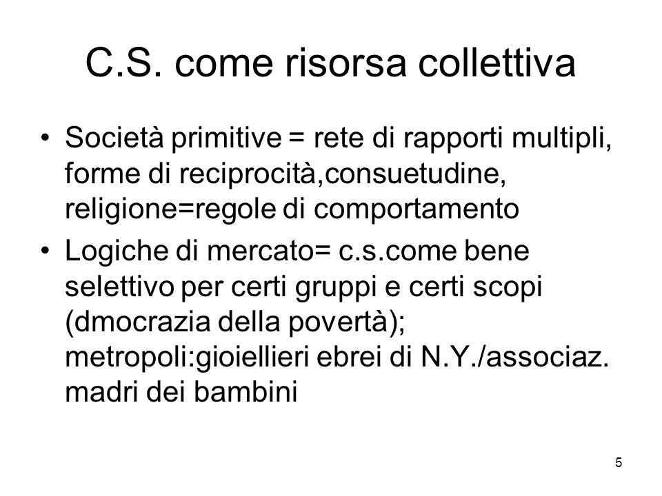 5 C.S. come risorsa collettiva Società primitive = rete di rapporti multipli, forme di reciprocità,consuetudine, religione=regole di comportamento Log