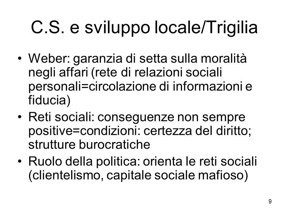 9 C.S. e sviluppo locale/Trigilia Weber: garanzia di setta sulla moralità negli affari (rete di relazioni sociali personali=circolazione di informazio