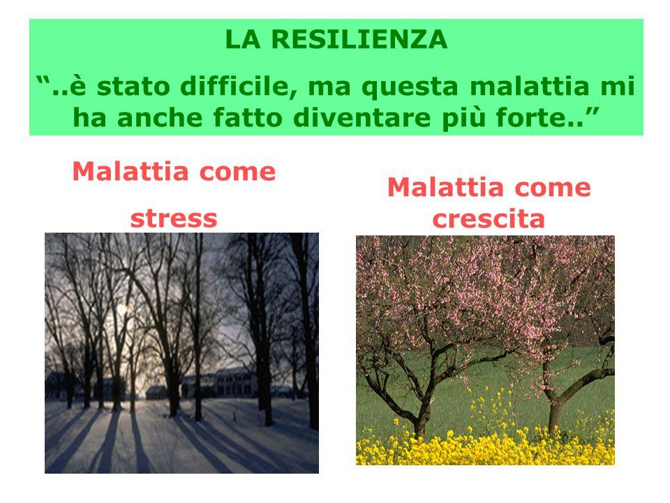 """Malattia come crescita Malattia come stress LA RESILIENZA """"..è stato difficile, ma questa malattia mi ha anche fatto diventare più forte.."""""""