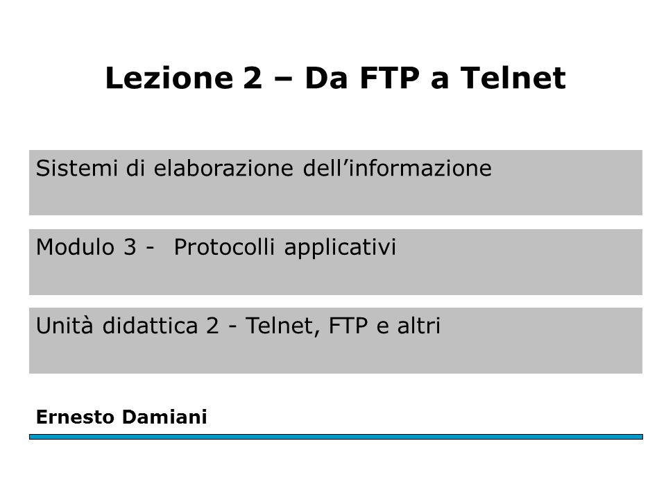 Sistemi di elaborazione dell'informazione Modulo 3 - Protocolli applicativi Unità didattica 2 - Telnet, FTP e altri Ernesto Damiani Lezione 2 – Da FTP
