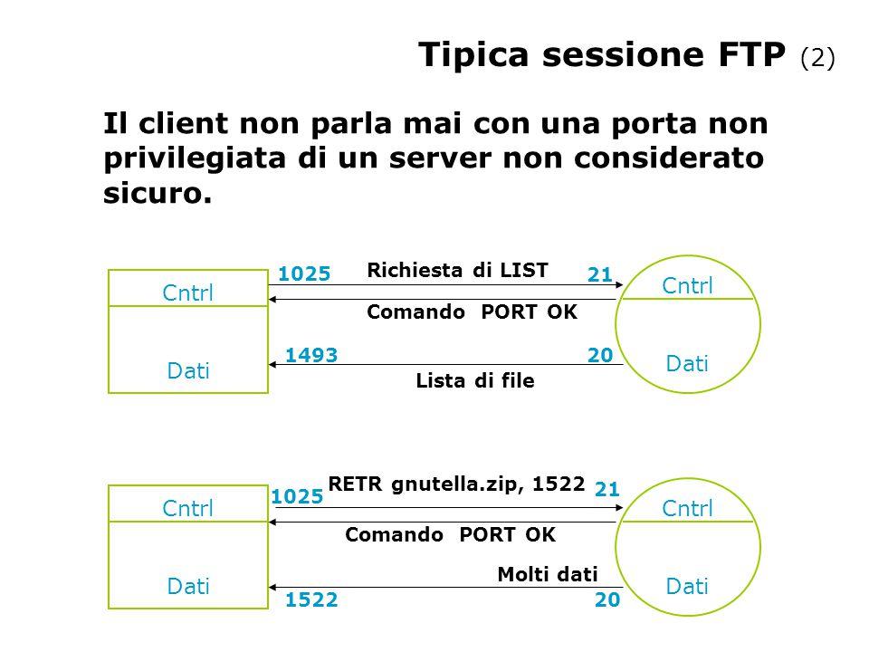 Tipica sessione FTP (2) Il client non parla mai con una porta non privilegiata di un server non considerato sicuro. Cntrl Dati Cntrl Dati Cntrl Dati R