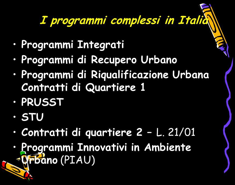 I programmi complessi in Italia Programmi Integrati Programmi di Recupero Urbano Programmi di Riqualificazione Urbana Contratti di Quartiere 1 PRUSST STU Contratti di quartiere 2 – L.