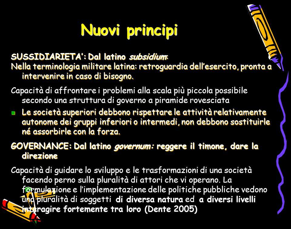 Nuovi principi SUSSIDIARIETA':Dal latino subsidium: SUSSIDIARIETA': Dal latino subsidium: Nella terminologia militare latina: retroguardia dell'eserci