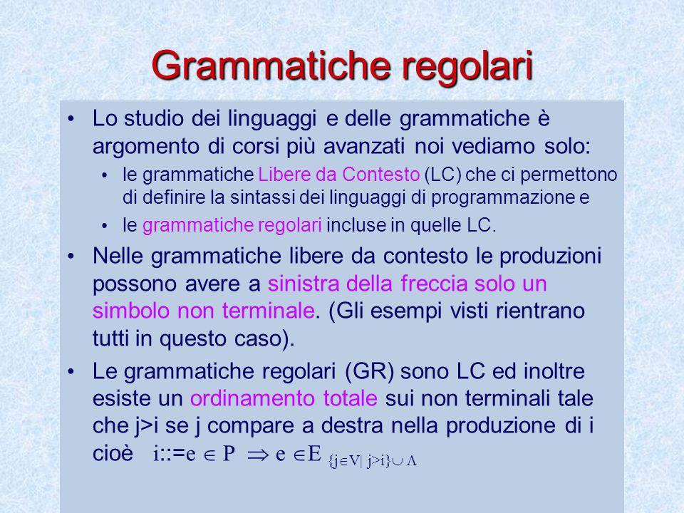 Grammatiche regolari Lo studio dei linguaggi e delle grammatiche è argomento di corsi più avanzati noi vediamo solo: le grammatiche Libere da Contesto (LC) che ci permettono di definire la sintassi dei linguaggi di programmazione e le grammatiche regolari incluse in quelle LC.