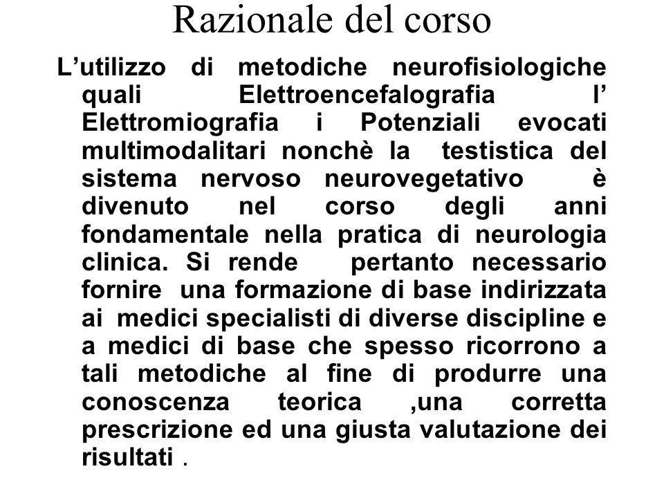 Razionale del corso L'utilizzo di metodiche neurofisiologiche quali Elettroencefalografia l' Elettromiografia i Potenziali evocati multimodalitari non