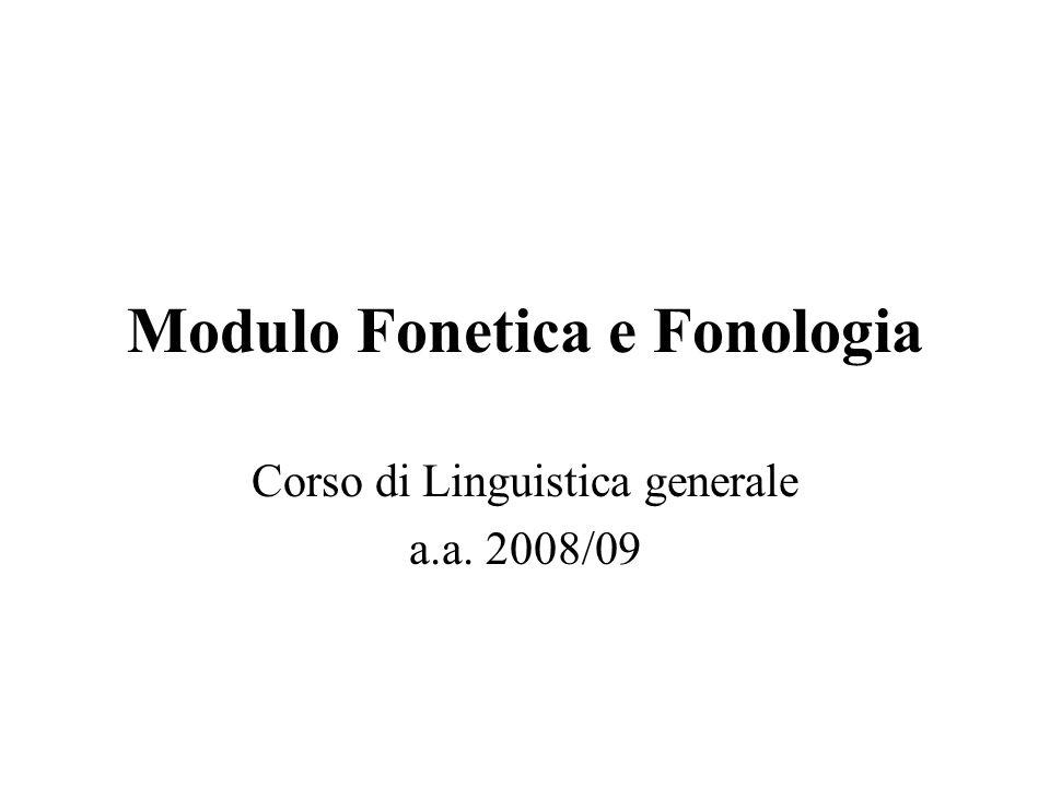 Modulo Fonetica e Fonologia Corso di Linguistica generale a.a. 2008/09