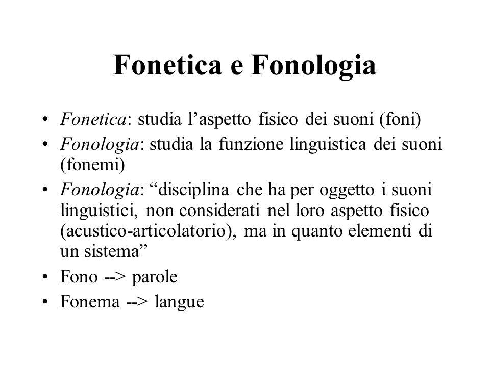 """Fonetica e Fonologia Fonetica: studia l'aspetto fisico dei suoni (foni) Fonologia: studia la funzione linguistica dei suoni (fonemi) Fonologia: """"disci"""