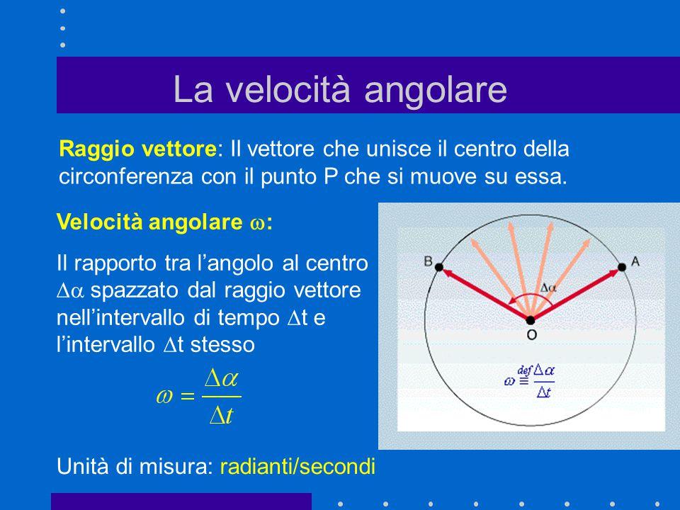 La velocità angolare Raggio vettore: Il vettore che unisce il centro della circonferenza con il punto P che si muove su essa. Velocità angolare  : I